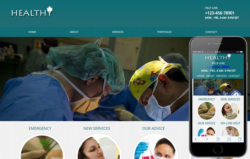 Healthy Mobile Website Template Mobile website template Free