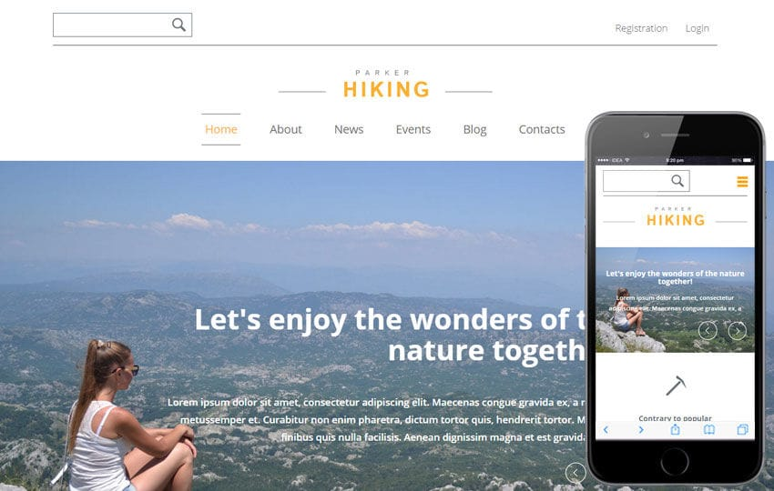 Hiking Sports Category Flat Bootstrap Responsive Web Template Mobile website template Free