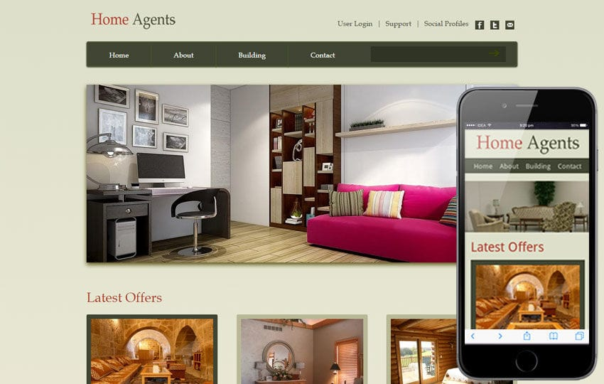 Home Agents web and mobile website template for free Mobile website template Free