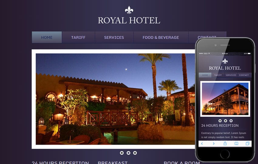Hotel Royal WebTemplate and Mobile WebTemplate for free Mobile website template Free