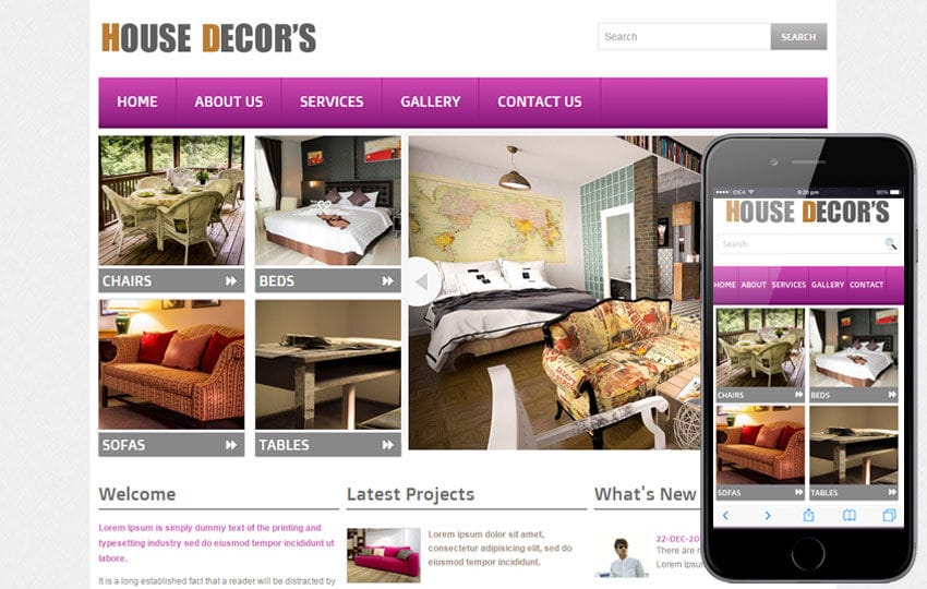 New House Decors Interior Web Template And Mobile Website Template For Free  Mobile Website Template Free