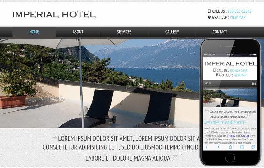 Imperial a Hotel Mobile Website Template Mobile website template Free