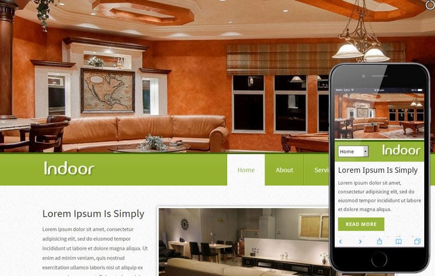 Indoor interior architects Mobile Website Template Mobile website template Free