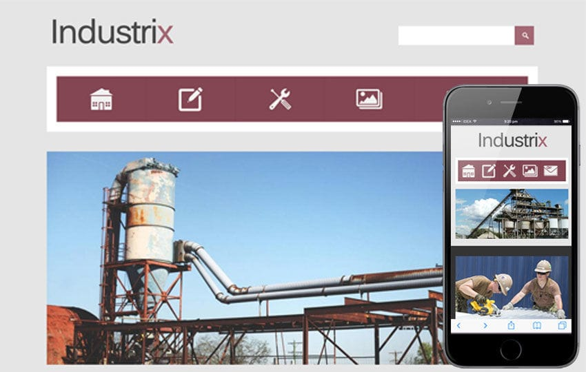 Industrix a Industrial Mobile Website Template Mobile website template Free