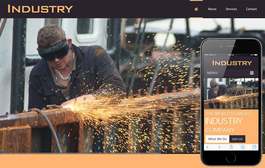 Industry a Industrial Mobile Website Template Mobile website template Free