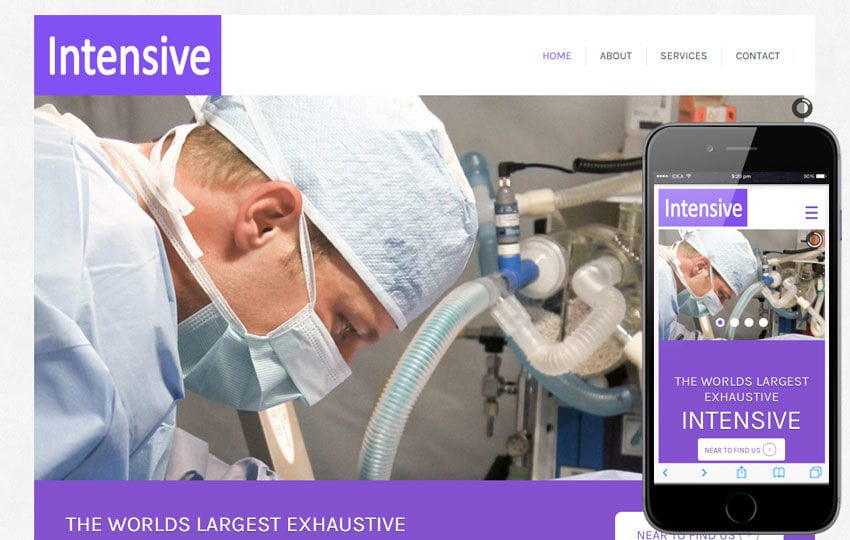 Intensive Hospital Mobile Website Template Mobile website template Free