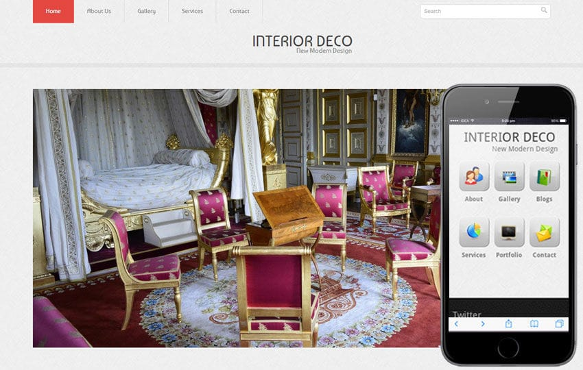 Interior Deco Web And Mobile Website Template For Free Mobile website template Free
