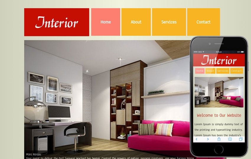 New Interior web template and mobile template for free Mobile website template Free