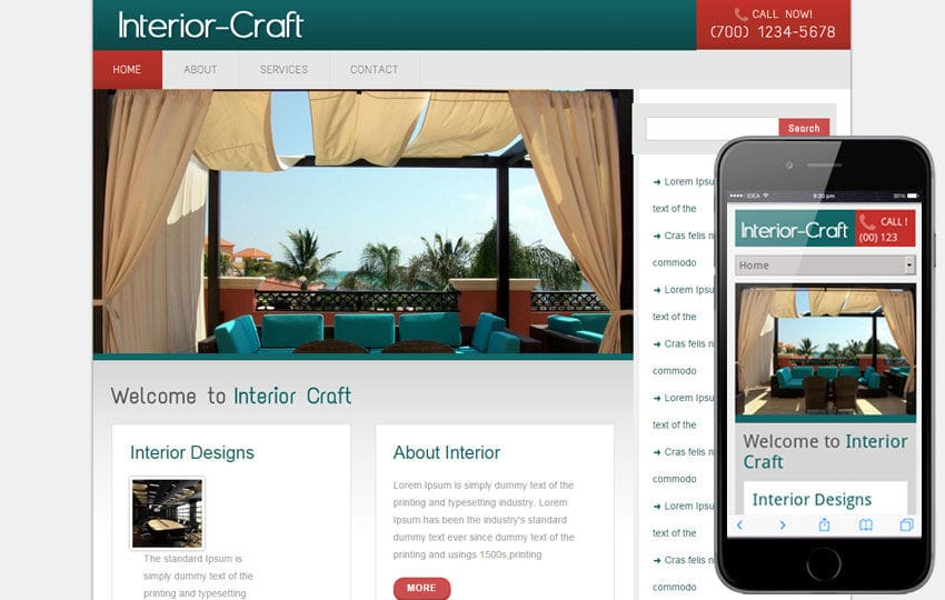 Interior Craft interior architects Mobile Website Template Mobile website template Free