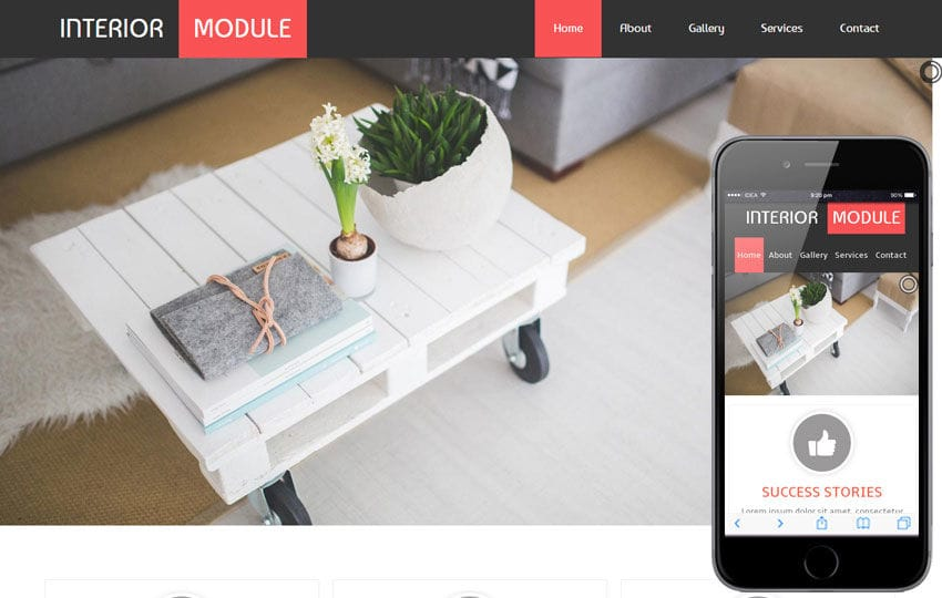 Interior Module a interior architects Mobile Website Template Mobile website template Free