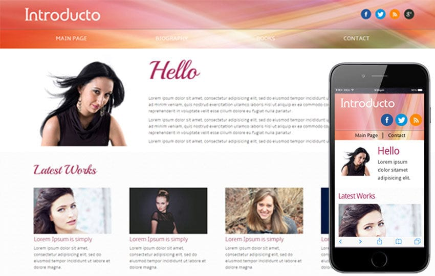 Introducto personal portfolio Mobile Website Template Mobile website template Free