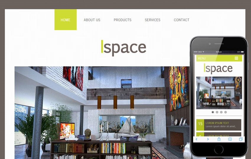 Ispace a interior architects Mobile Website Template Mobile website template Free