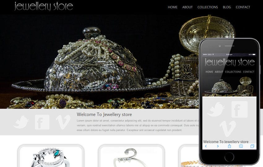 Jewellery store mobile web template Mobile website template Free