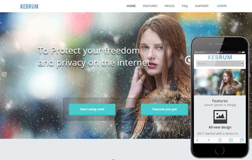 Kebrum a Product based Flat Bootstrap Responsive web template Mobile website template Free
