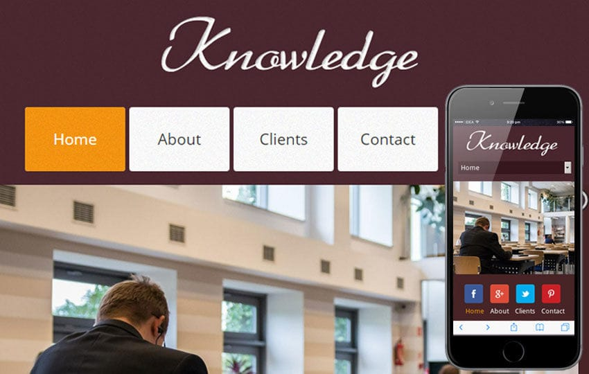 Knowledge a Education Mobile Website Template Mobile website template Free