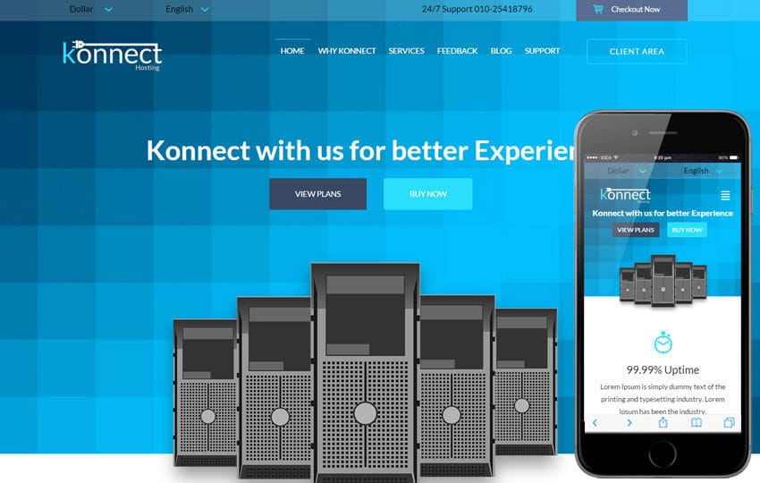 Konnect a Web Hosting Flat Bootstrap Responsive Web Template Mobile website template Free