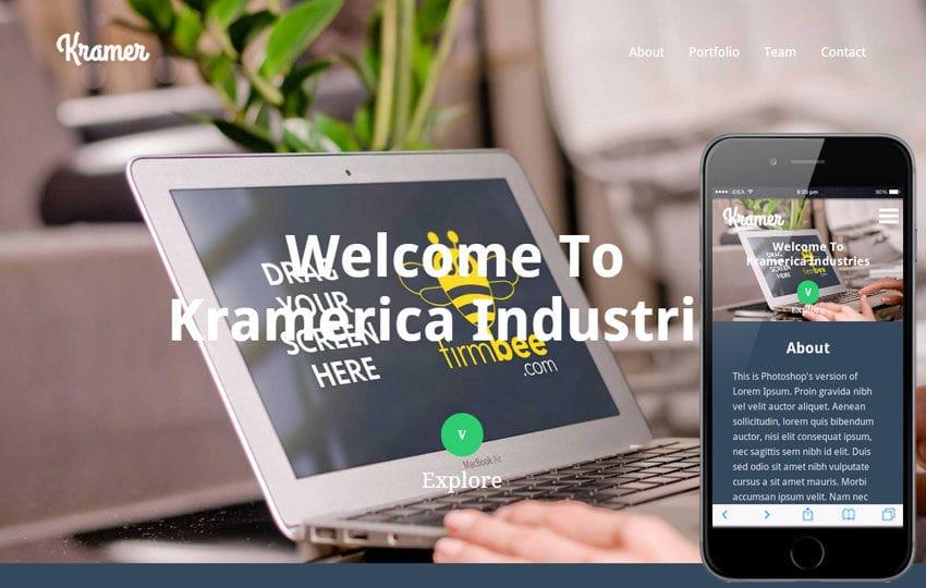 Kramer a Industrial Portfolio Flat Bootstrap Responsive web template Mobile website template Free
