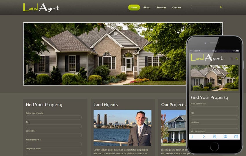 Land Agent Real Estate Mobile Website Template Mobile website template Free