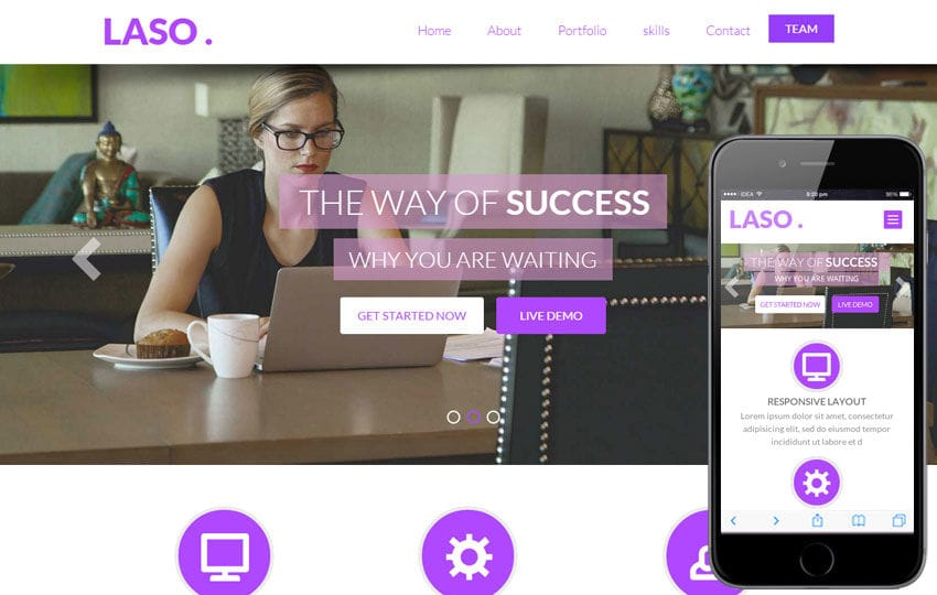 Laso a Singlepage Personal Portfolio Flat Bootstrap Responsive web template Mobile website template Free