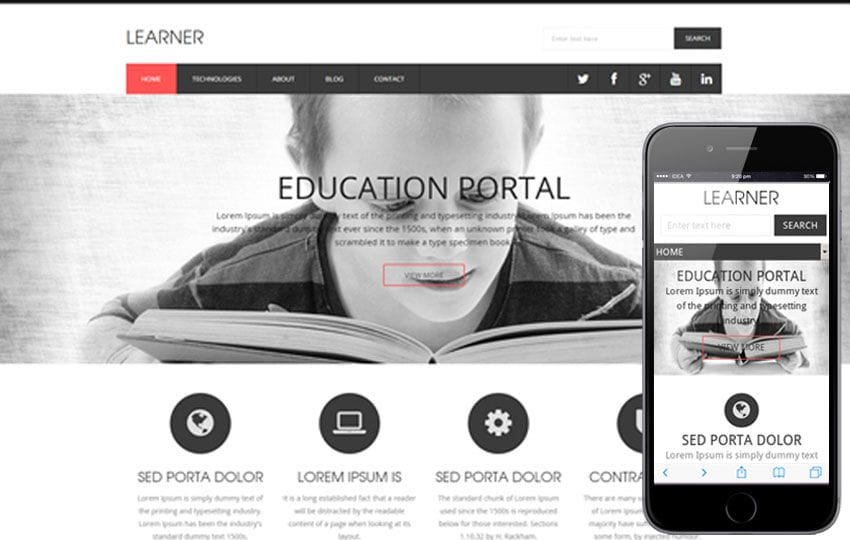 Learner a Educational Flat Responsive web template Mobile website template Free
