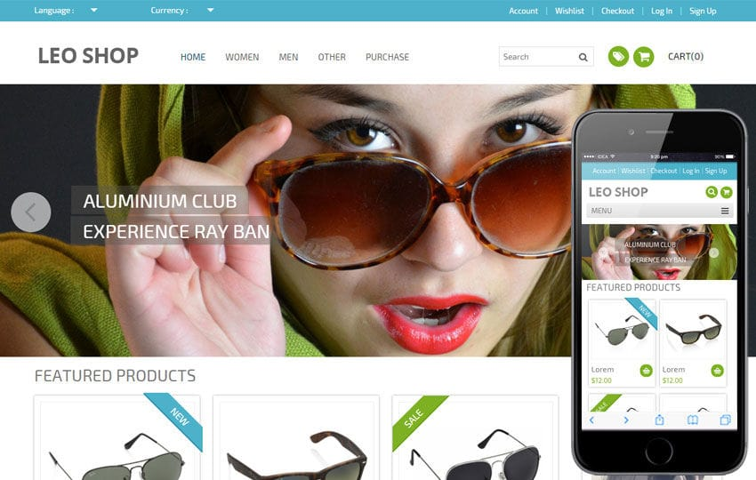 Leoshop Flat Ecommerce Responsive Web Template Mobile website template Free