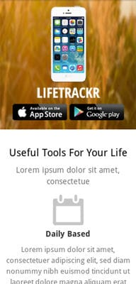 Mobile website Template LifeTrackr a Landing page Flat Responsive web template
