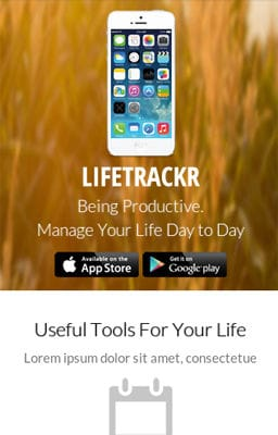 Free Iphone Smartphone web template LifeTrackr a Landing page Flat Responsive web template