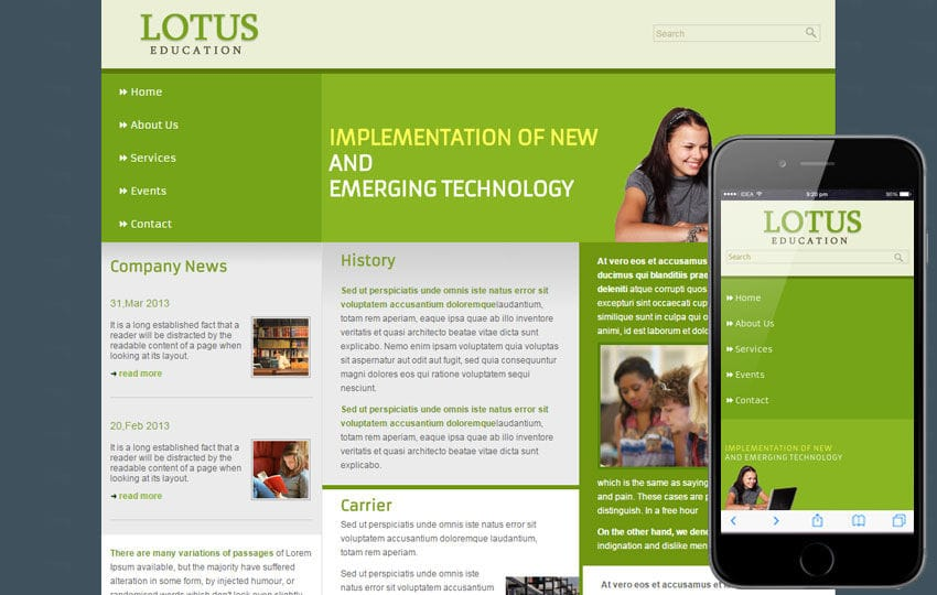 Free Lotus Education web template mobile website template for education centers Mobile website template Free
