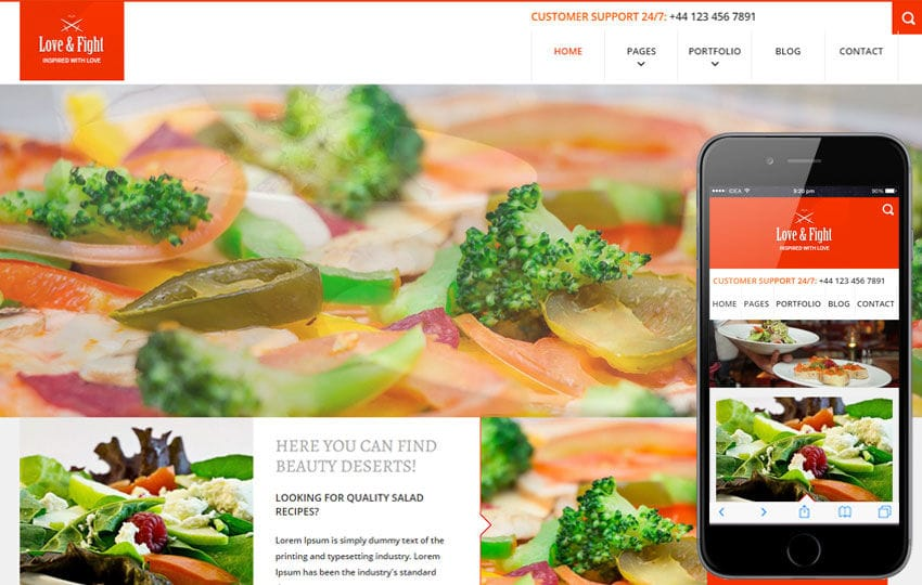 Love and Fight a Flat Restaurant Responsive Web Template