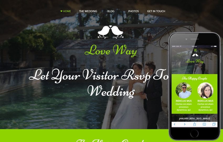 Love Way a Flat Wedding Planner Bootstrap Responsive Web Template Mobile website template Free