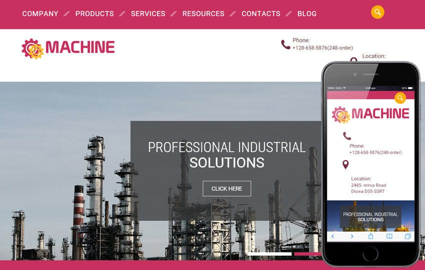 Machine a Industrial Category Flat Bootstrap Responsive web template Mobile website template Free