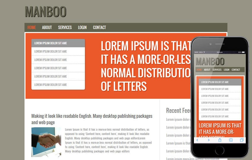 Free Manboo blogging web template and Mobile templates Mobile website template Free