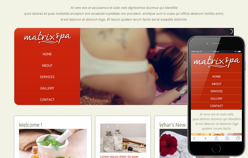Matrix Spa Web And Mobile Website Template For Free Mobile website template Free