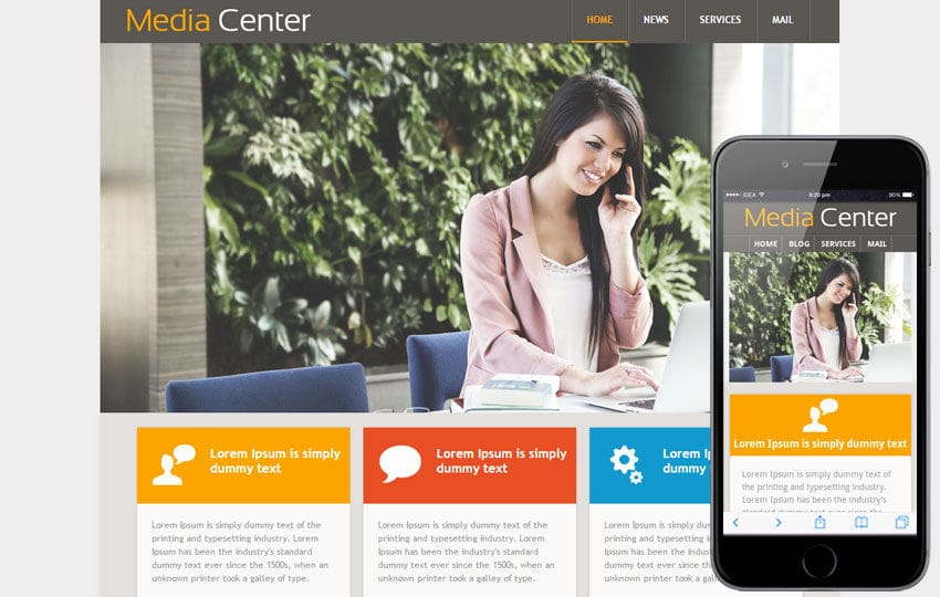 Media Center web Template and Mobile Web Template for Entertainment Category Mobile website template Free