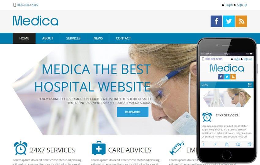 Medica Hospital Mobile Website Template