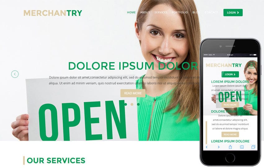 Merchantry a Corporate Flat Bootstrap Responsive Web Template Mobile website template Free