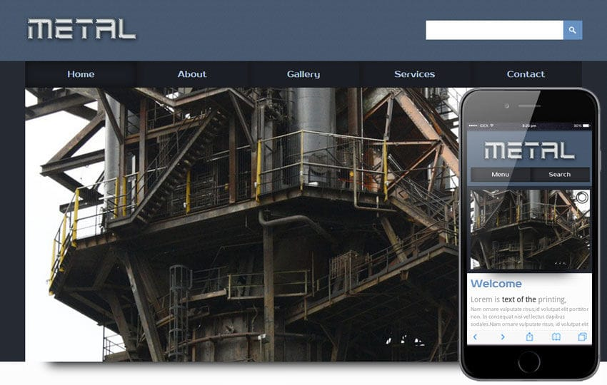 Metal a Industrial Mobile Website Template Mobile website template Free