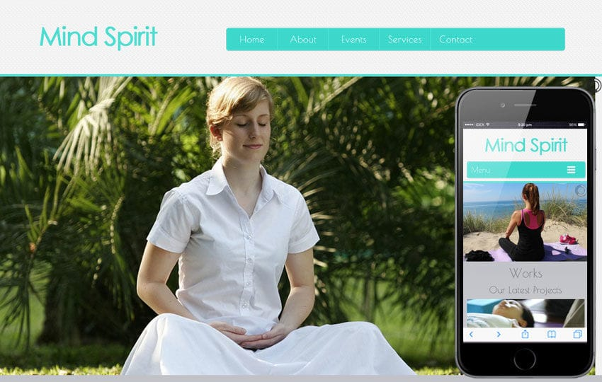 Mind Spirit A Health And Fitness Mobile Website Template Mobile Website Template  Free  Fitness Templates Free