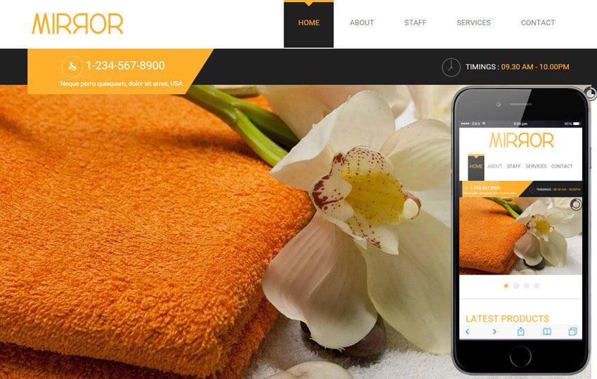 Mirror Beauty Parlour Mobile Website Template Mobile website template Free
