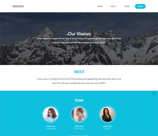 Free website template CSS HTML5 Mission a Corporate Flat Responsive web template