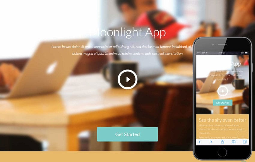 Moonlight a Mobile App based Flat Bootstrap Responsive web template Mobile website template Free