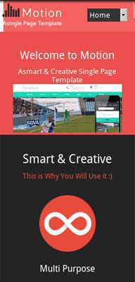 Mobile website Template Motion a Personal Portfolio Flat Responsive Web Template