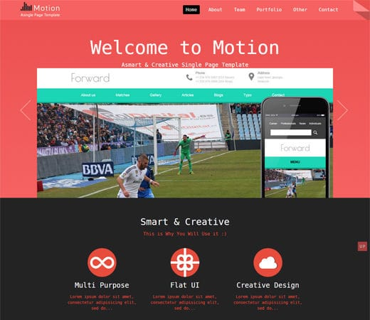 Free website template CSS HTML5 Motion a Personal Portfolio Flat Responsive Web Template