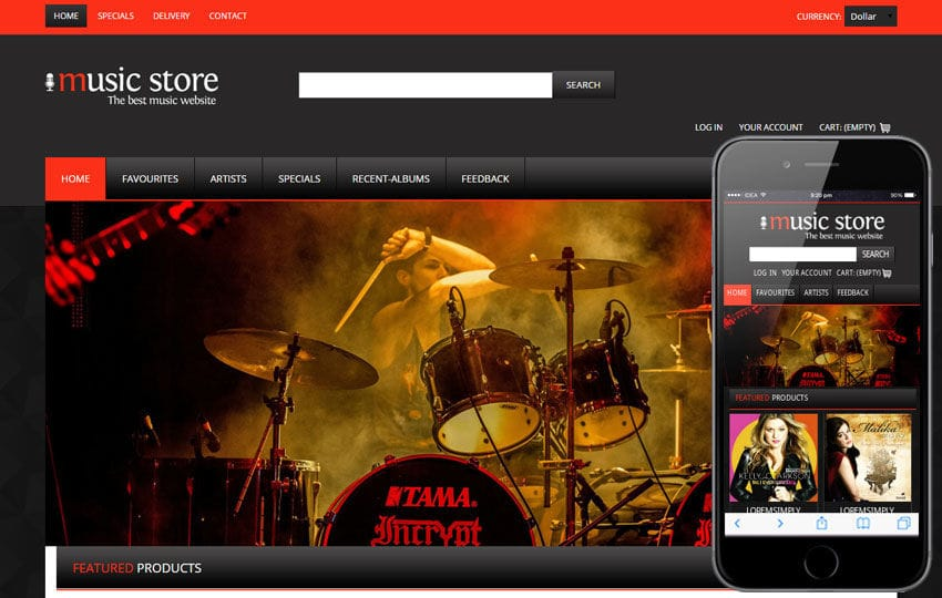 Music Store A Music Mobile Website Template By Wlayouts - Music website templates