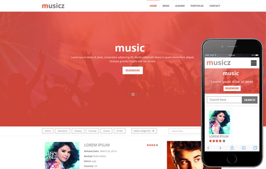 Musicz a Portal Multipurpose Flat Bootstrap Responsive web template Mobile website template Free