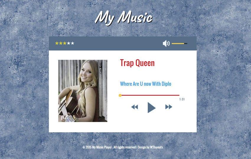My Music Audio Player Responsive Widget Template