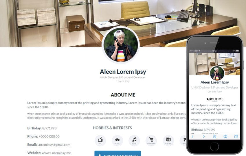 my cv a onepage portfolio flat bootstrap responsive web template