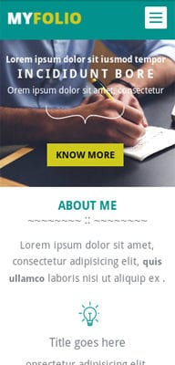 Mobile website Template MyFolio a Personal Portfolio Flat Bootstrap Responsive web template