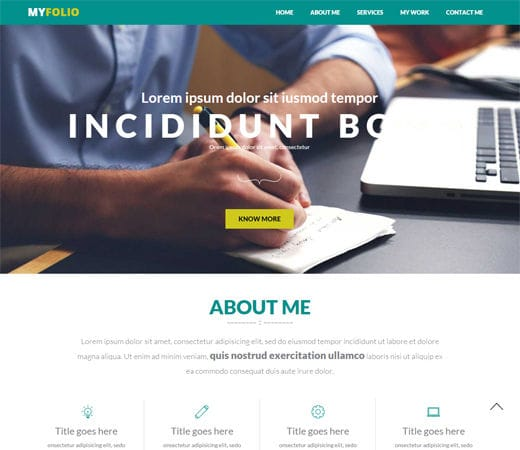 Free website template CSS HTML5 MyFolio a Personal Portfolio Flat Bootstrap Responsive web template