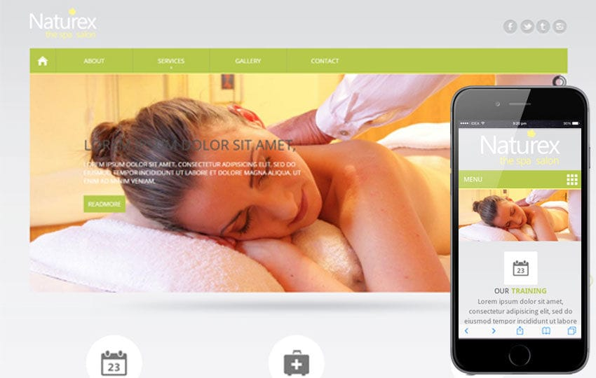 Naturex Beauty Parlour Mobile Website Template